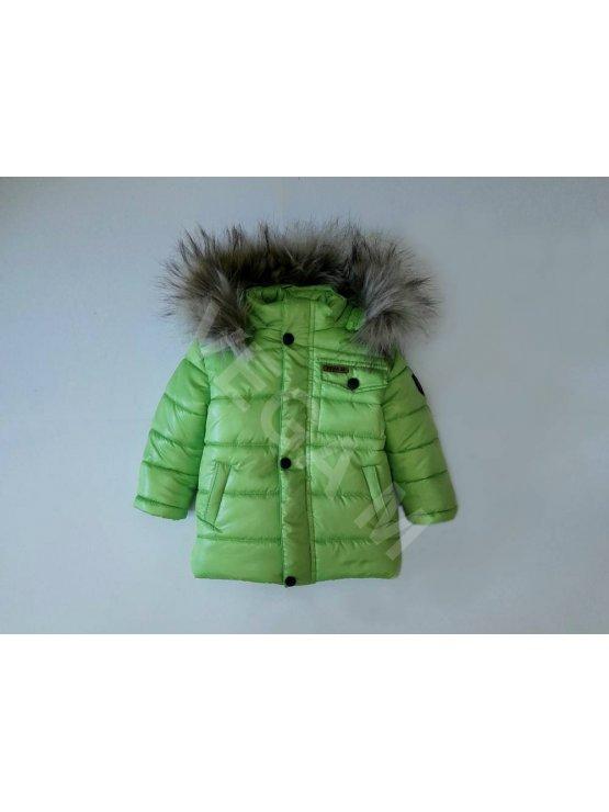 """Детско зимно яке за момче -цвят""""зелена ябълка"""""""